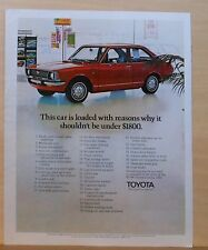 1971 magazine ad for Toyota - red Corolla 1200, list of reasons to buy