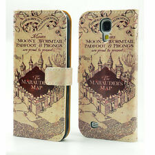 Harry Potter Marauder's Map Leather Wallet Flip Case For Samsung Galaxy S4 S IV