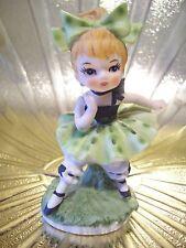 RARE VTG March St Patrick Day Birthday Irish Big Bow Bloomer Girl Angel Figurine