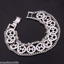 18K White Gold Filled Curb Chain Heart Bracelet (B-154)
