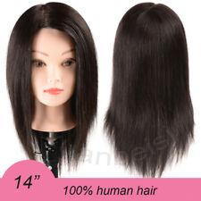 """14"""" Black 100% Human Hair Training Mannequin Head For Dye Bleach Curl Iron Cut"""