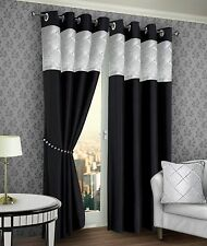 One Pair Fully Lined Ring Top Ready Made Eyelet Curtains Black Cream Tieback