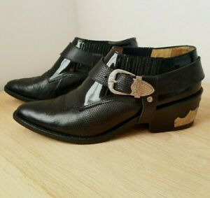 Toga Pulla Western Buckle Ankle Boots Size 4 (37) Patent & Black Leather Low Top