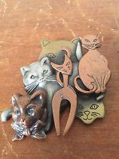 "- 2 1/2"" x 2 1/4"" Cat Lady Vtg 80's 90's Multi Cat Kitties Metal Pin Brooch"