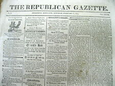 1824 Frederick MARYLAND newspaper with AD for the SALE OF SLAVES at AUCTION