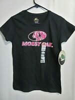 Mossy Oak Ladies Short Sleeve T-Shirt Black With Pink Logo Size Small NWT