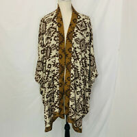 D & CO DENIM & COMPANY Plus Open Front Draped Waterfall Aztec Poncho Cardigan