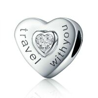 Real 100% 925 Sterling Silver Travel with You Heart Shape Charm pandora