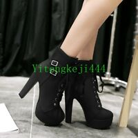Sexy Women Lace Up High Heels Pumps Ankle Boots Platform Punk Shoes US 12