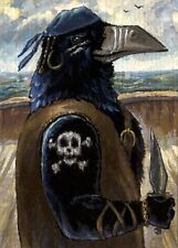 ➨ Crow Raven Pirates Of The Caribbean Cruise Ship Boat Fantasy Skull Aceo Print�