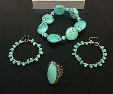 Turquoise Jewelry Set Ring, Bracelet, & Earrings