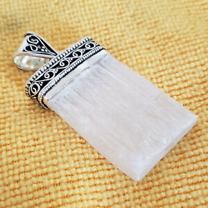 Sterling Silver Scolecite Crystal Pendant Rectangle 20.0g [6783]