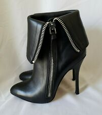 Women's Jean Michael Cazabat booties Boots Black Leather Fold Over Zipper sz 8
