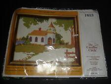 CREATIVE CIRCLE LAKESIDE CHAPEL #1613 COUNTED CROSS STITCH KIT VINTAGE 1982