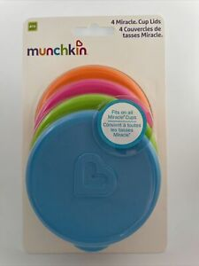 Pack Set 4 Munchkin Miracle Lids Sippy Training Cup Lid 4 colours BPA Free 3189