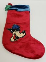 "Disney Big Bad Wolf 20"" Christmas Stocking. Red W/Blue Trim"