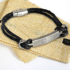Leather ID Identity Bracelet- Personalised Engraved Steel Bar Charm & Gift Bag