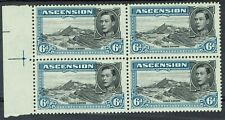 ASCENSION 1938 KGVI THREE SISTERS 6D STAMPS MNH ** BLOCK PERF 13