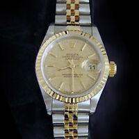 Rolex Datejust Lady 2Tone 18K Yellow Gold Stainless Steel Watch Linen Dial 69173