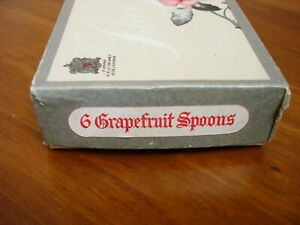 BOXED VINTAGE SET 6 VINERS SILVER PLATED GRAPEFRUIT SPOONS - SILVER ROSE