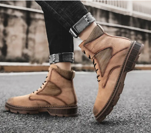 Mens Outdoor Leather Work Riding Ankle Boots Casual High Top Boots Sports Flats