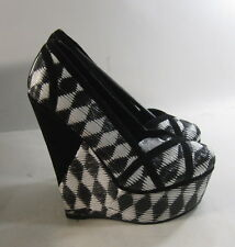 """new Black's/white 6""""high wedge heel 2""""platform round toe  sexy shoes  Size  8.5"""
