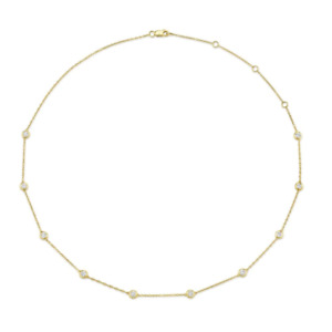 Diamonds By the Yard Bezel Necklace 14k Yellow Gold Natural Round Cut Adjustable