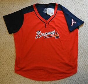 Atlanta Braves MLB Majestic Red/Navy CoolBase Jersey Women's Size(3XL)