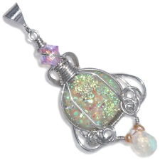 Fairy Aura Drusy Wire Wrapped Handmade Pendant with Moonstone