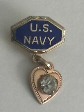 Vintage WWII US NAVY USN Sweetheart Pin Patriotic HOME FRONT Heart & White Stone