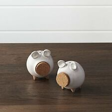 Stoneware Pig Salt and Pepper Shakers with Cork Noses