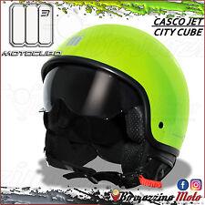 CASCO MOTO SCOOTER JET UNIVERSALE MOTOCUBO CITY CUBE VERDE FLUO TAGLIA L