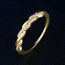 Wedding Band Twisted Eternity Ring Yellow Gold Round Cz 925 Sterling Silver 5-10