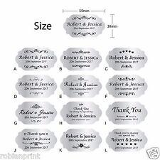 100 x Personalised Wedding Bomboniere Envelope Silver Sticker Seals