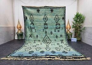"Moroccan Boujaad Handmade Rug 6'5""x10'4"" Berber Geometric Turquoise Black Carpet"