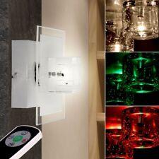 RGB LED Wand Leuchte Wohn Zimmer Glas Würfel Lampe Farbwechsler FERNBEDIENUNG