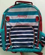 Pottery Barn Kids Large Fairfax Blue Red Aqua Striped Backpack name Avery New!