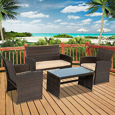 4pc Wicker Outdoor Patio Furniture Set Custioned Seats