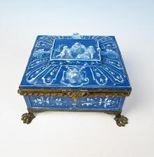Lebeuf Milliet & Cie Creil Montereau Antique French Pottery JEWELRY BOX Faience