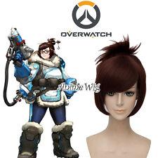 Overwatch Mei Reddish Brown Short 30CM Anime Cosplay Wig + Wig Cap