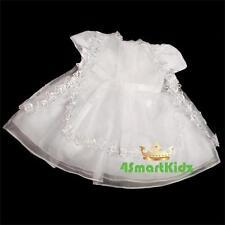 3Pc Beaed Baby Flower Girl Christening Dress Vest Bonnet White Baby Sz 000 #092