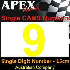 CAMS Window Number 9 Sticker - Single Number 15cm - Race Rally Drift - Yellow