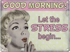 Good Morning Stress, Funny Retro Vintage Girl Women Gift, Gift, Fridge Magnet