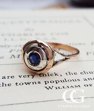 Vintage Antique Inspired 9ct Rose Gold & Blue Sapphire Target Ring