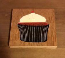 SAGE Original RED VELVET CUPCAKE On WOOD Painting COA obey kaws banksy supreme