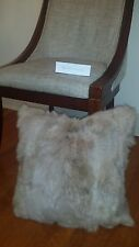 "Handmade 100% Genuine Rabbit Fur 18""x18"" Taupe Pillow Cushion Case & fabric back"