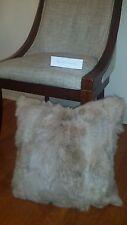 "Handmade 100% Genuine Rabbit Fur 18""x18"" Taupe Pillow Cushion Case & fabric back"