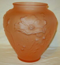 "Tiffin Glass Embossed Pink Satin Poppy Vase - 8-1/2"" Tall"
