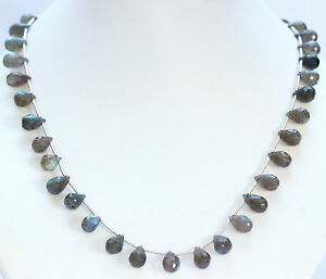 Labradorite Necklace Precious Stone Drop Grey With Blue Sheen Approx. 46 CM