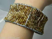Vintage Gold & Brown Tone Glass Beaded Cuff Bracelet